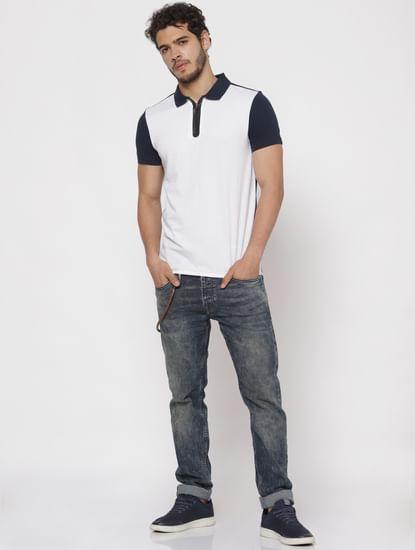 White Colour Blocked Polo Neck T-Shirt