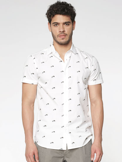 White All Over Flag Print Slim Fit Short Sleeves Shirt