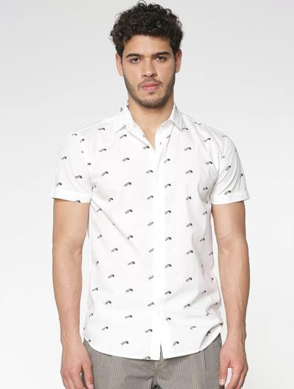 White All Over Flag Print Slim Fit Short Sleeves Shirt