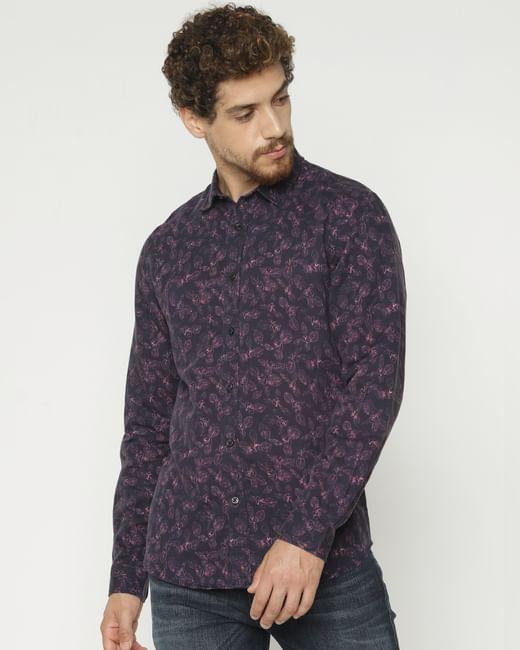 Purple All Over Print Full Sleeves Shirt
