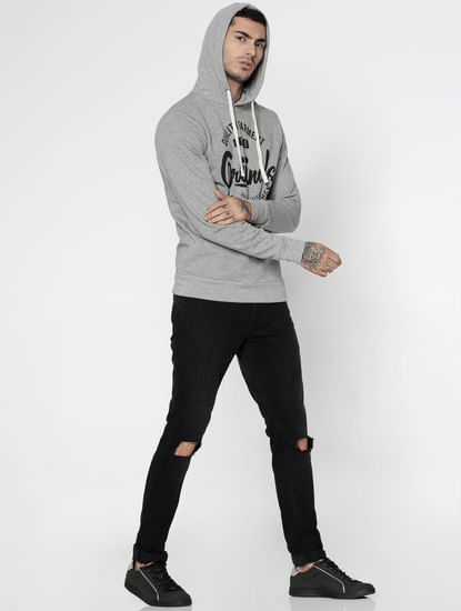 Grey Text Print Hooded Sweatshirt