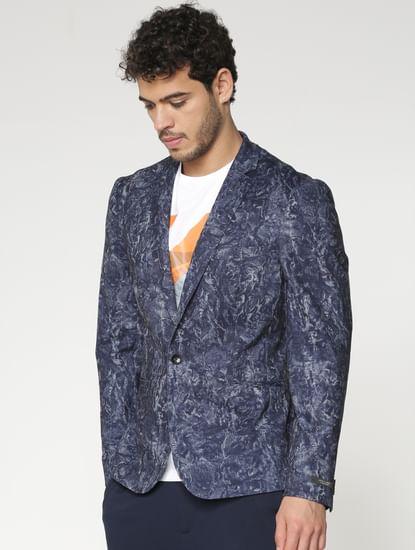 Blue All Over Brushed Print Slim Fit Blazer