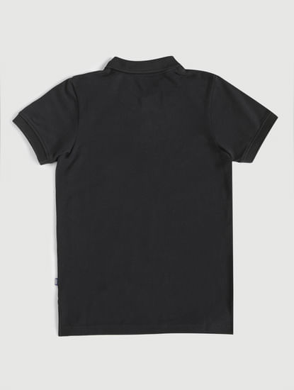 Junior Black Polo Neck T-Shirt