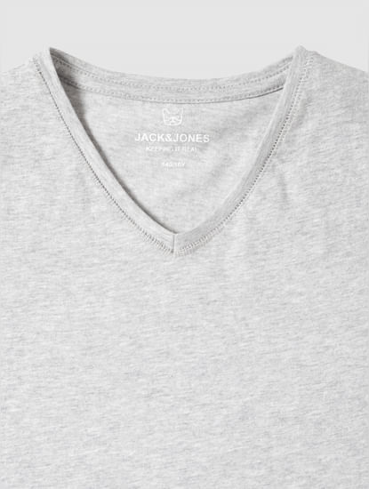 Junior Grey Slim Fit V Neck T-Shirt