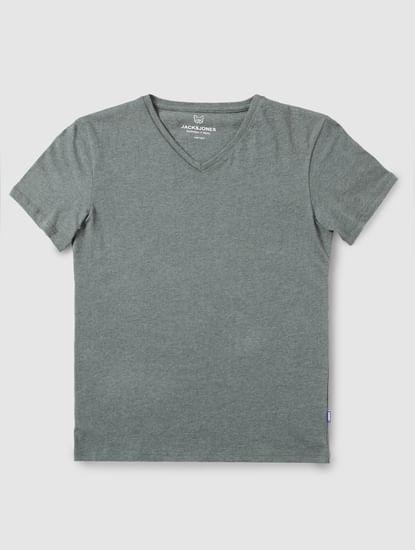Junior Green Slim Fit V Neck T-Shirt
