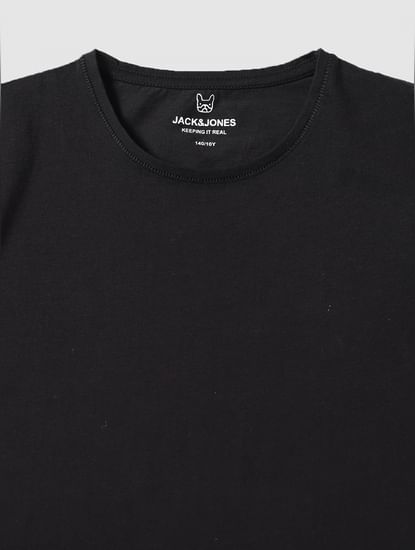 Boys Black Slim Fit V Neck T-Shirt