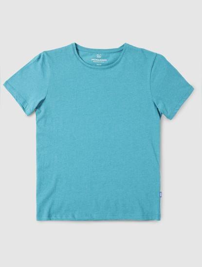 Junior Blue Slim Fit Crew Neck T-Shirt