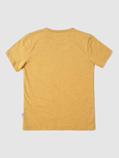 Boys Yellow Slim Fit Crew Neck T-Shirt