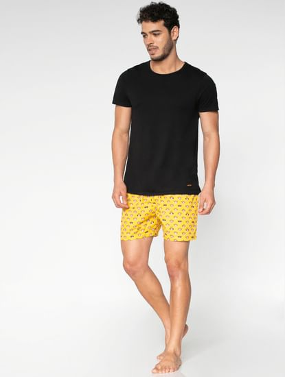 Yellow All Over Monkey Graphic Print Boxers