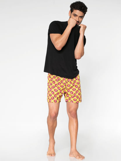 Yellow All Over Lips And Dotted Print Boxers