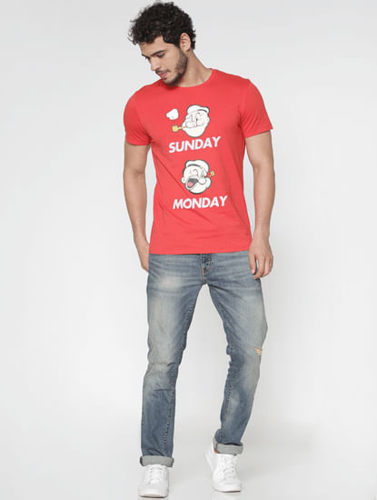 X Popeye Red Graphic Print Slim Fit Crew Neck T-Shirt