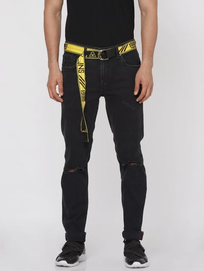 Black Ripped Text Print Ben Slim Fit Jeans