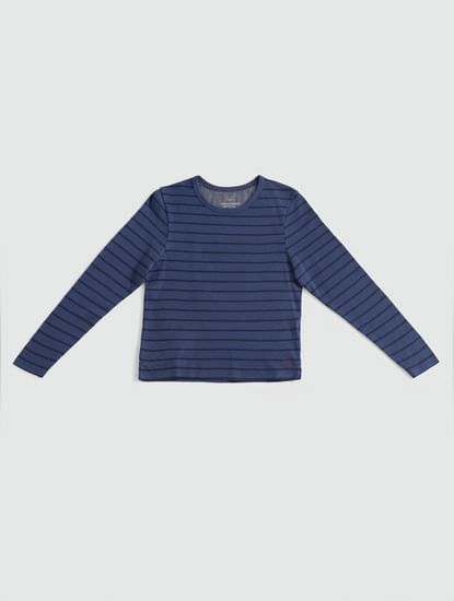 Junior Blue Striped Full Sleeves Crew Neck T-Shirt