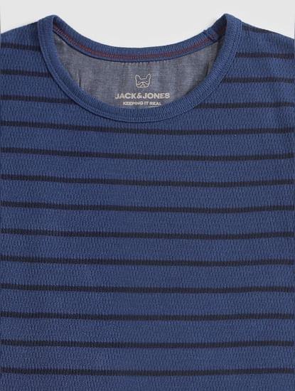 Junior Blue Striped Full Sleeves Crew Neck T-Shirt