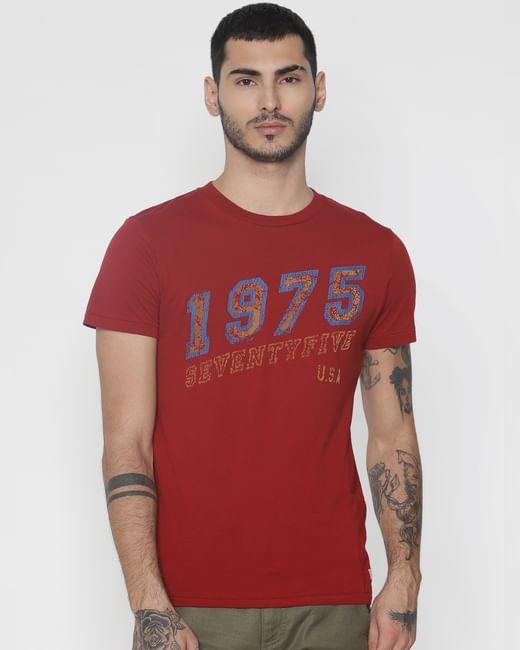 Red Text Print Crew Neck T-Shirt