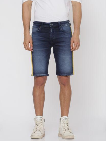 Blue Side Tape Detail Slim Fit Denim Shorts