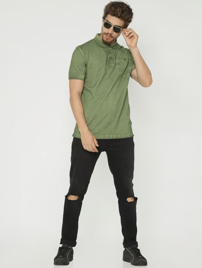 Green Polo Neck T-Shirt
