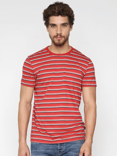 Red Striped Crew Neck T-Shirt