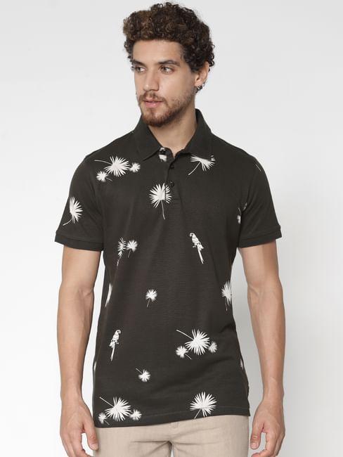 Dark Green Printed Polo Neck T-Shirt