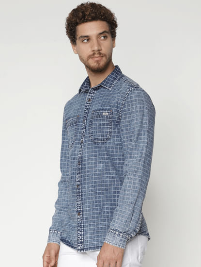 Blue Check Denim Full Sleeves Shirt