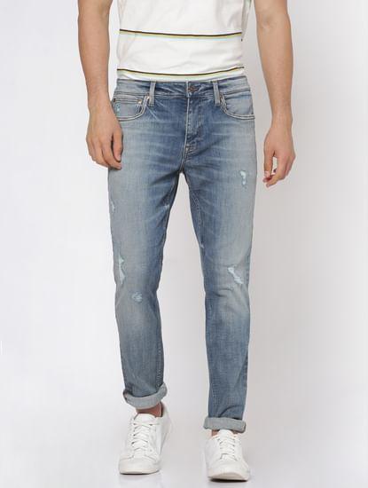 Light Blue Faded Distressed Liam Slim Fit Jeans