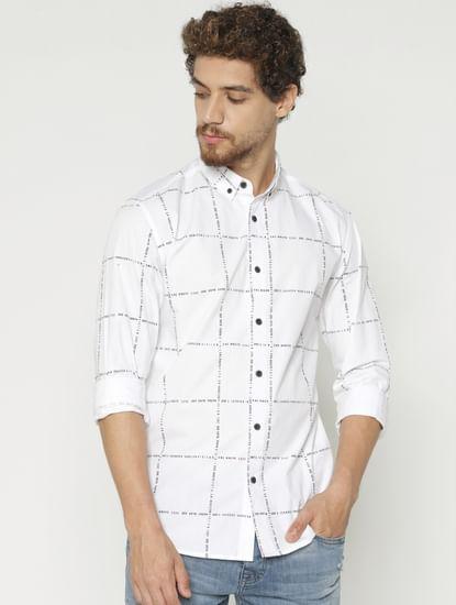 White Checks Slim Fit Full Sleeves Shirt