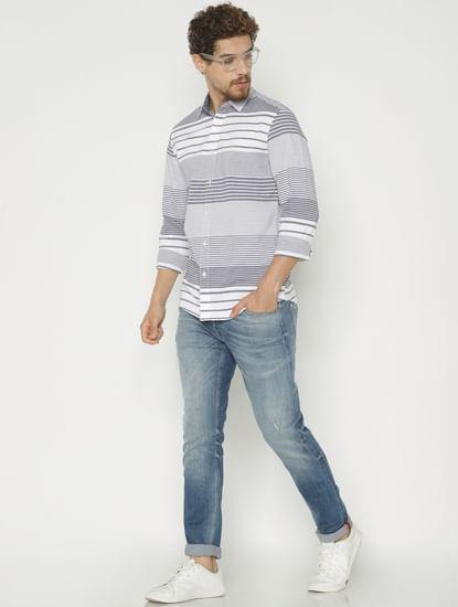 White Striped Slim Fit Full Sleeves Shirt