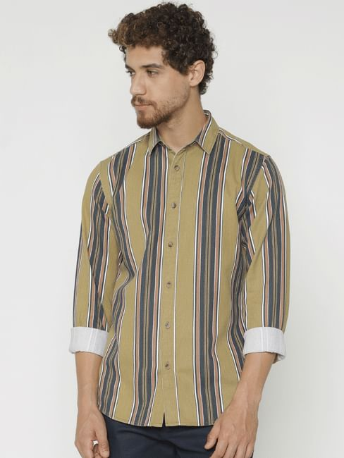 Green Striped Slim Fit Full Sleeves Shirt