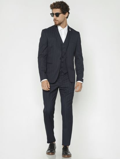 Navy Blue Striped Trousers