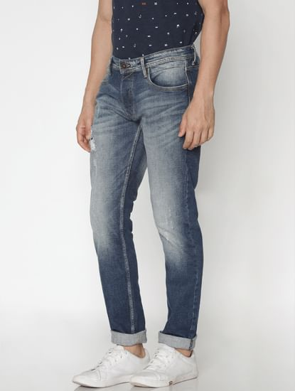 Blue Faded Distressed Tim Slim Fit Jeans