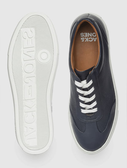 Navy Blue Leather Sneakers