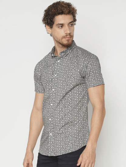 Grey Printed Slim Fit Short Sleeves Shirt