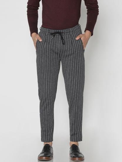 Black Striped Drawstring Pants