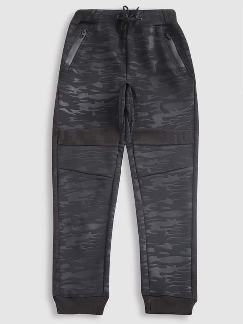 Boys Black Camo Print Drawstring Sweatpants
