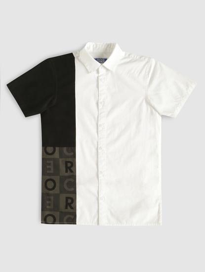 Boys White Colour Blocked Printed Shirt