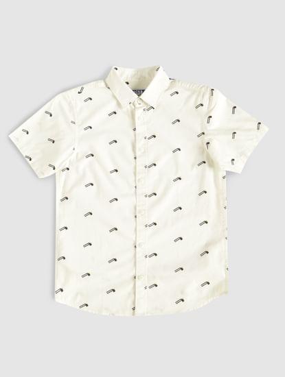 Boys White Printed Short Sleeves Shirt
