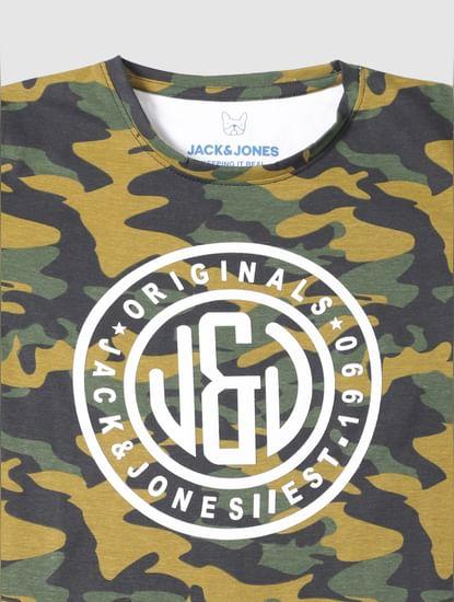 Junior Green Camo Print Crew Neck T-Shirt
