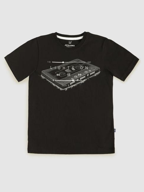 Boys Black Graphic Print T-Shirt