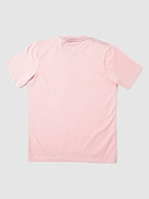 Boys Pink Typographic Print Crew Neck T-Shirt