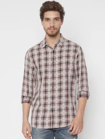 Brown Printed Full Sleeves Shirt