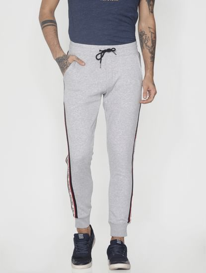 Grey Tape Detail Drawstring Sweatpants
