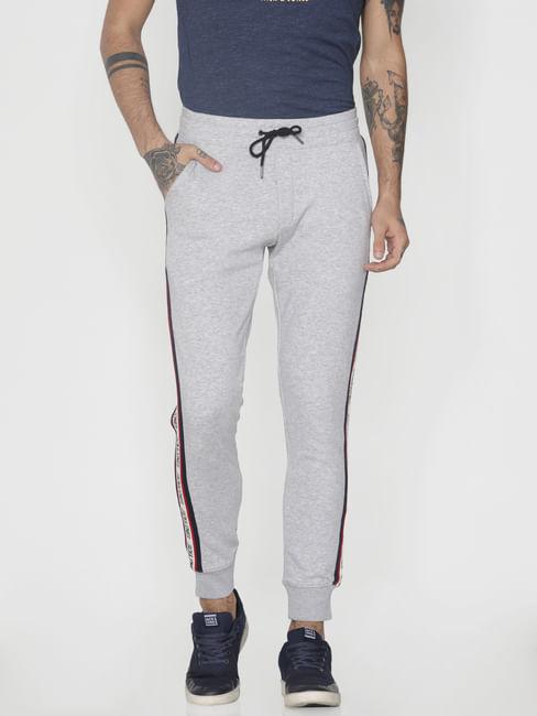 Grey Tape Detail Drawstring Sweatpants