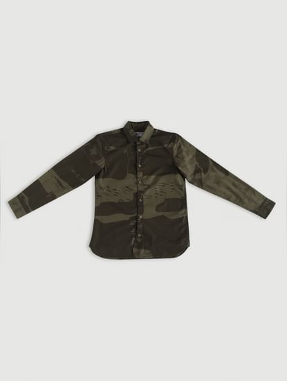 Junior Green Camo Print Full Sleeves Shirt