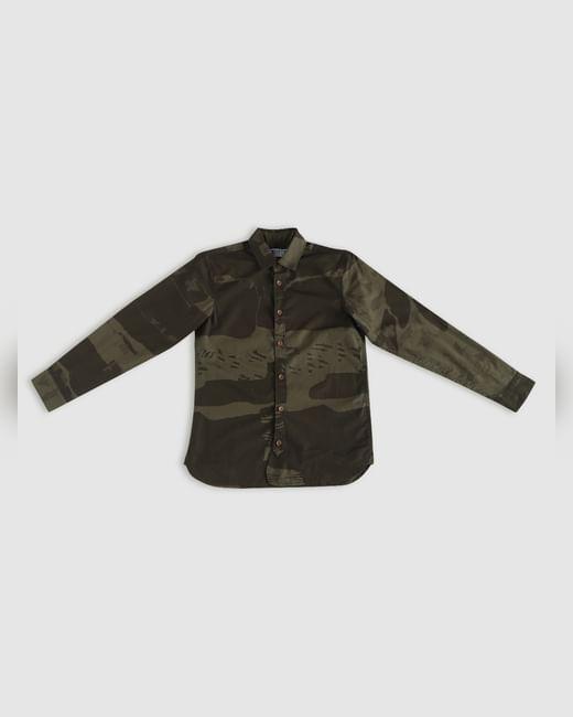 Junior Green Camo Print Full Sleeves Shirt