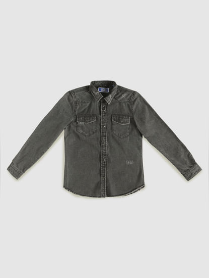 Junior Black Faded Full Sleeves Shirt