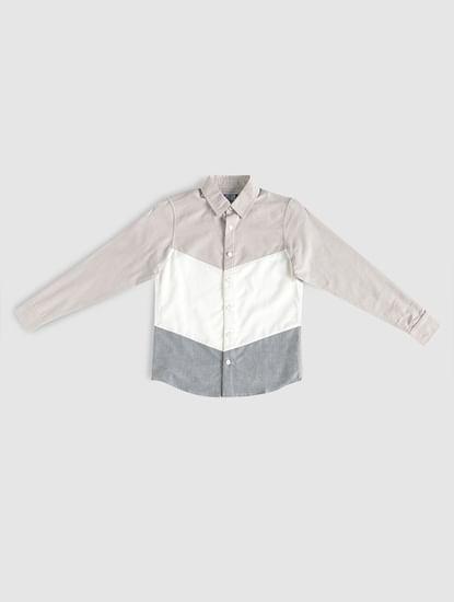 Boys White Colour Blocked Shirt