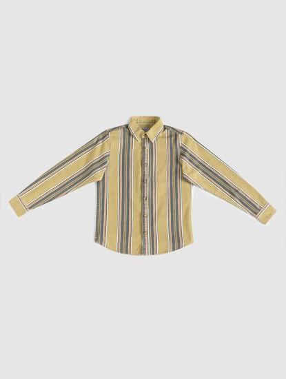 Boys Yellow Striped Full Sleeves Shirt