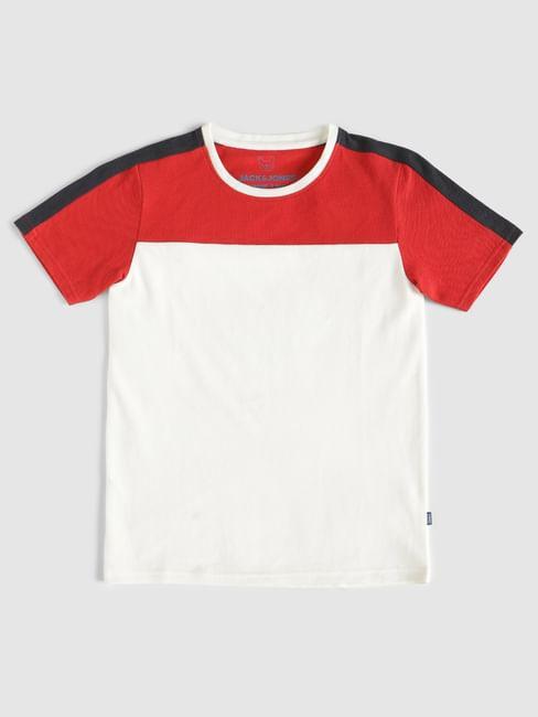 Boys White Colour Blocked Crew Neck T-Shirt