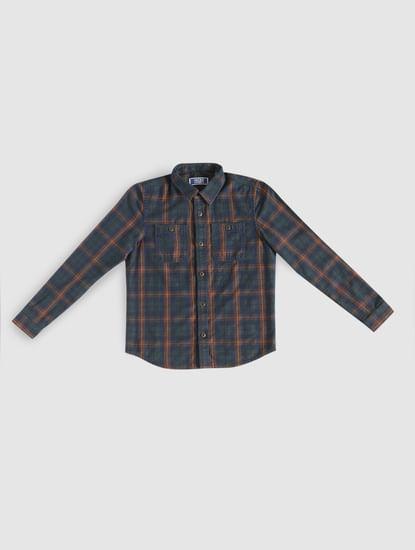 Boys Dark Blue Check Full Sleeves Shirt
