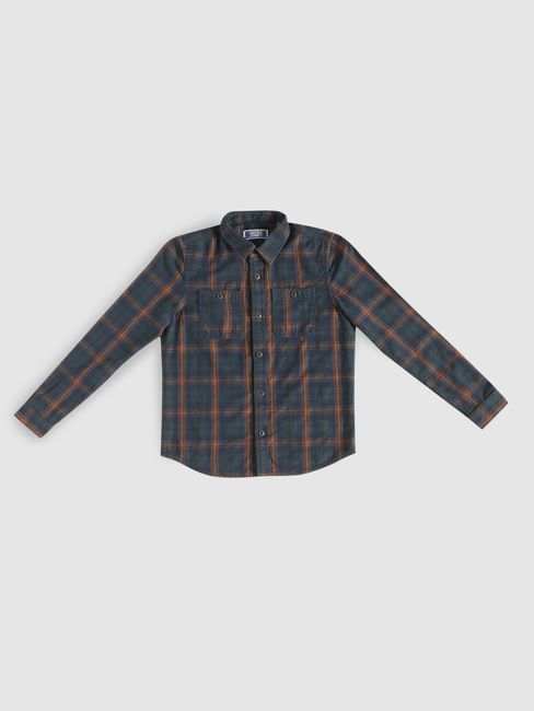 Junior Dark Blue Check Full Sleeves Shirt